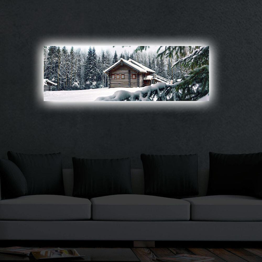 Tablou pe panza iluminat Shining, 239SHN3258, 30 x 90 cm, panza