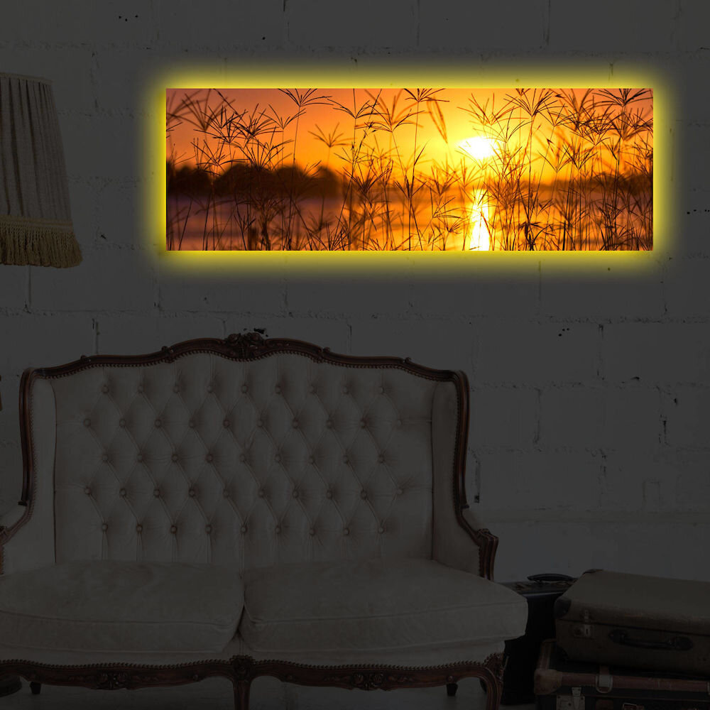 Tablou pe panza iluminat Shining, 239SHN3260, 30 x 90 cm, panza