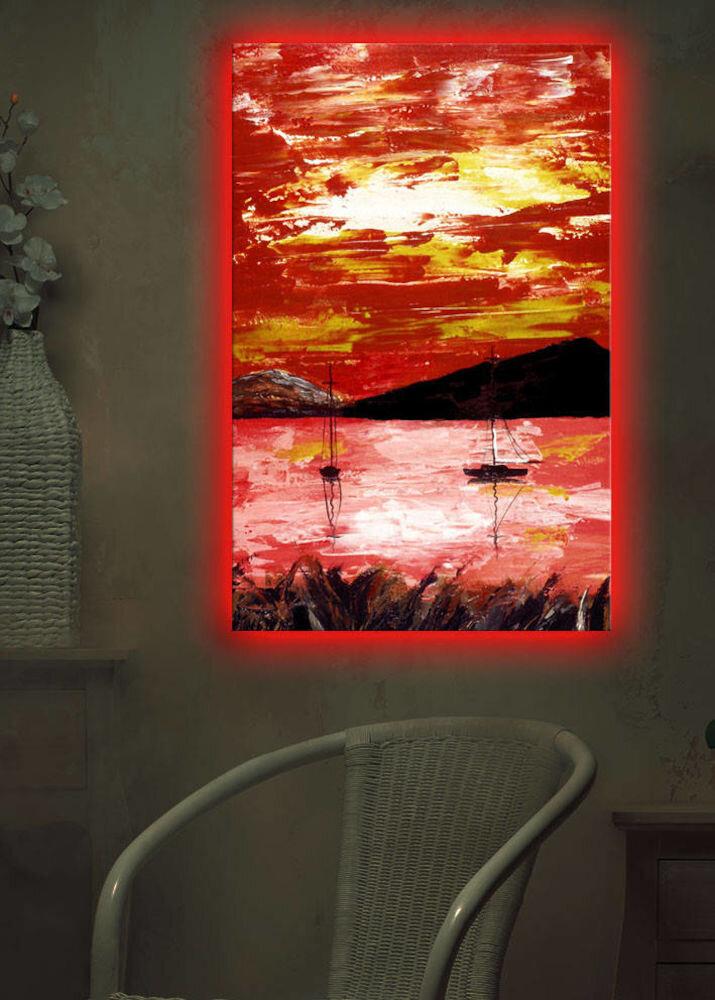 Tablou pe panza iluminat Shining, 239SHN1287, 45 x 70 cm, panza