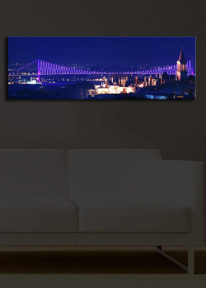 Tablou pe panza iluminat Shining, 239SHN1214, 30 x 90 cm, panza