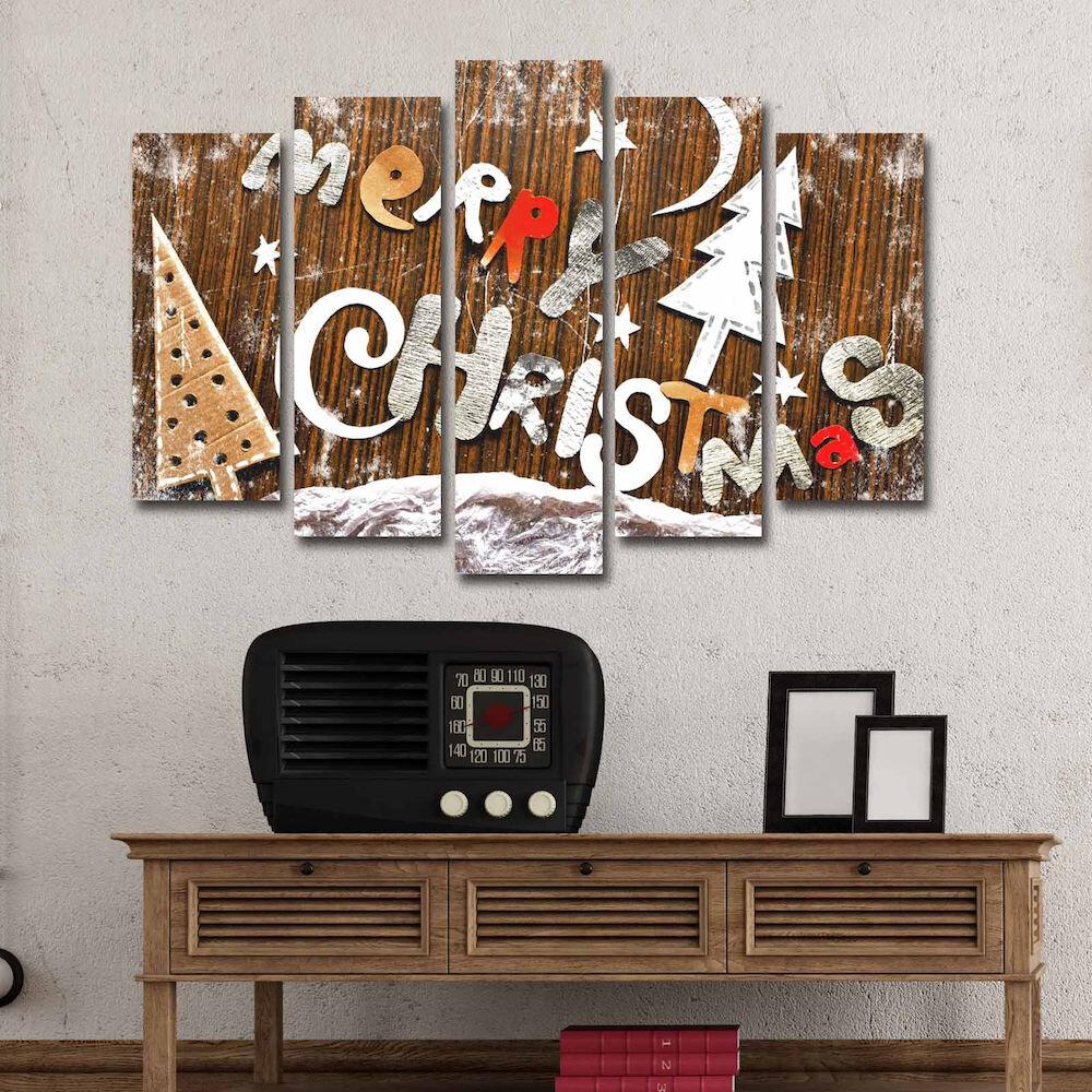 Tablou decorativ pe panza Christmas Wall, 229CST1207, 5 Piese, panza