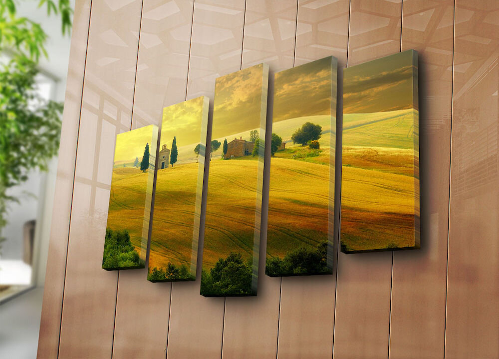 Tablou decorativ pe panza Sightly, 252SGH1346, 5 Piese, panza