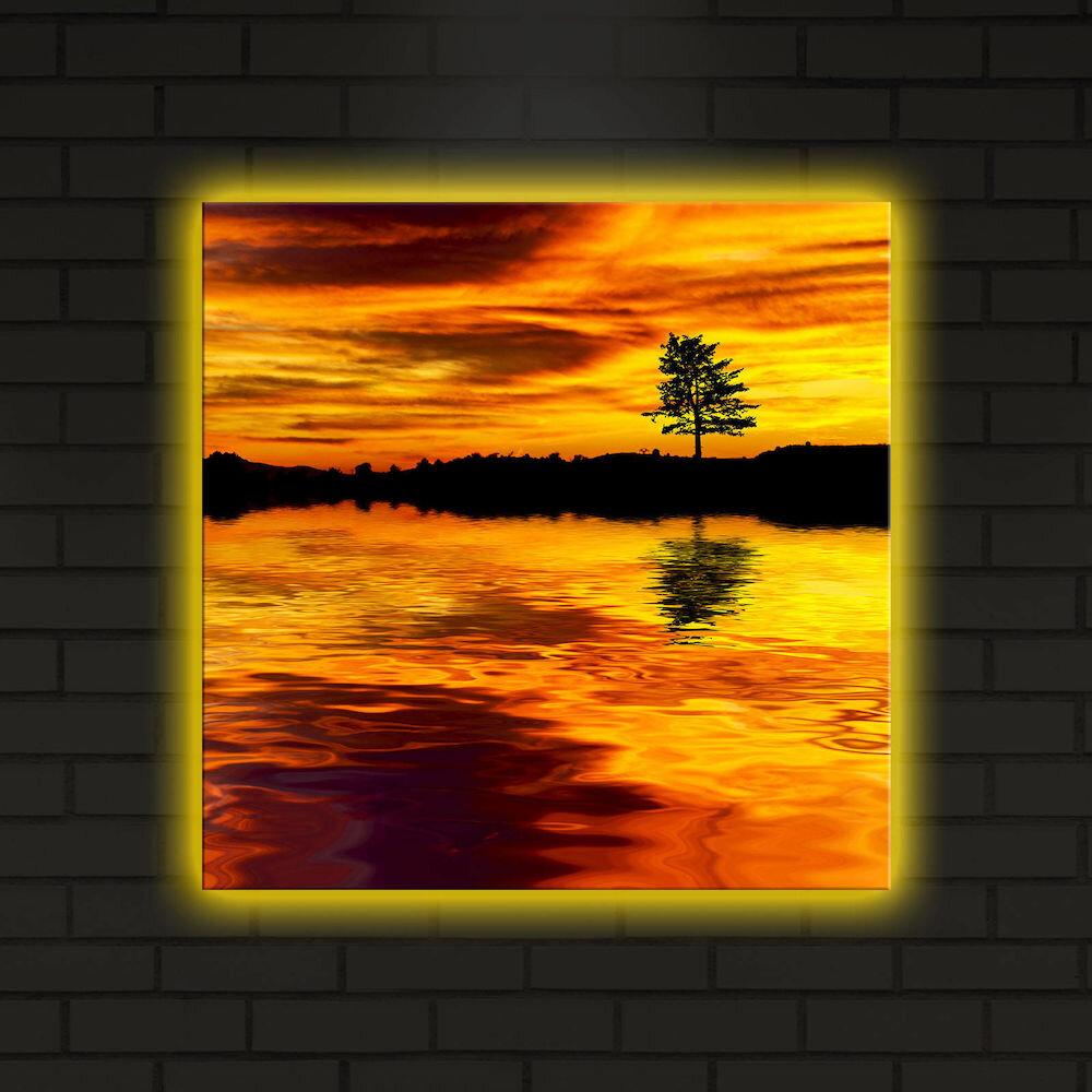 Tablou pe panza iluminat Shining, 239SHN4277, 40 x 40 cm, panza
