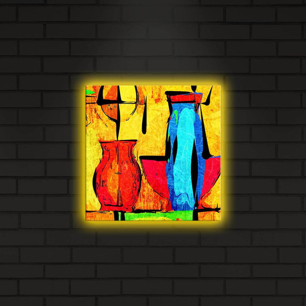 Tablou pe panza iluminat Shining, 239SHN4254, 28 x 28 cm, panza