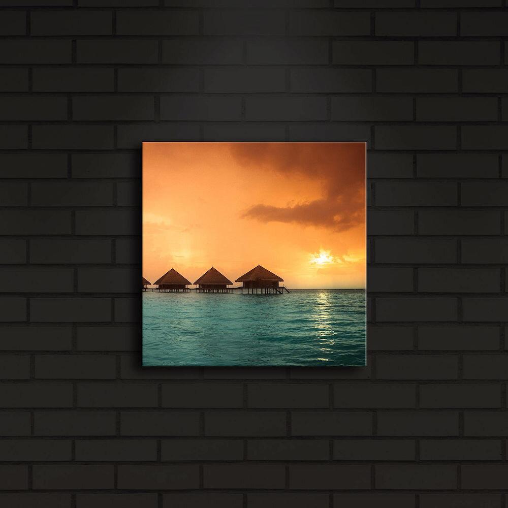 Tablou pe panza iluminat Shining, 239SHN4203, 28 x 28 cm, panza