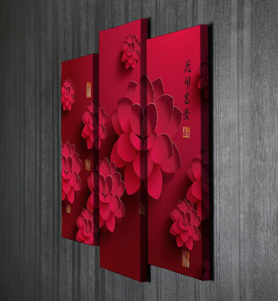 Tablou decorativ pe panza Majestic, 257MJS3285, 3 Piese, panza
