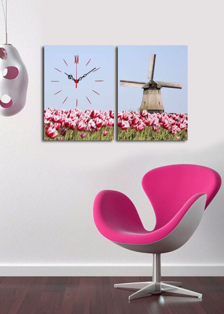 Ceas decorativ de perete Clock Art, 228CLA2627, 2 Piese, panza