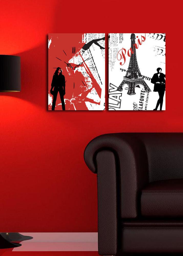 Ceas decorativ de perete Clock Art, 228CLA2647, 2 Piese, panza