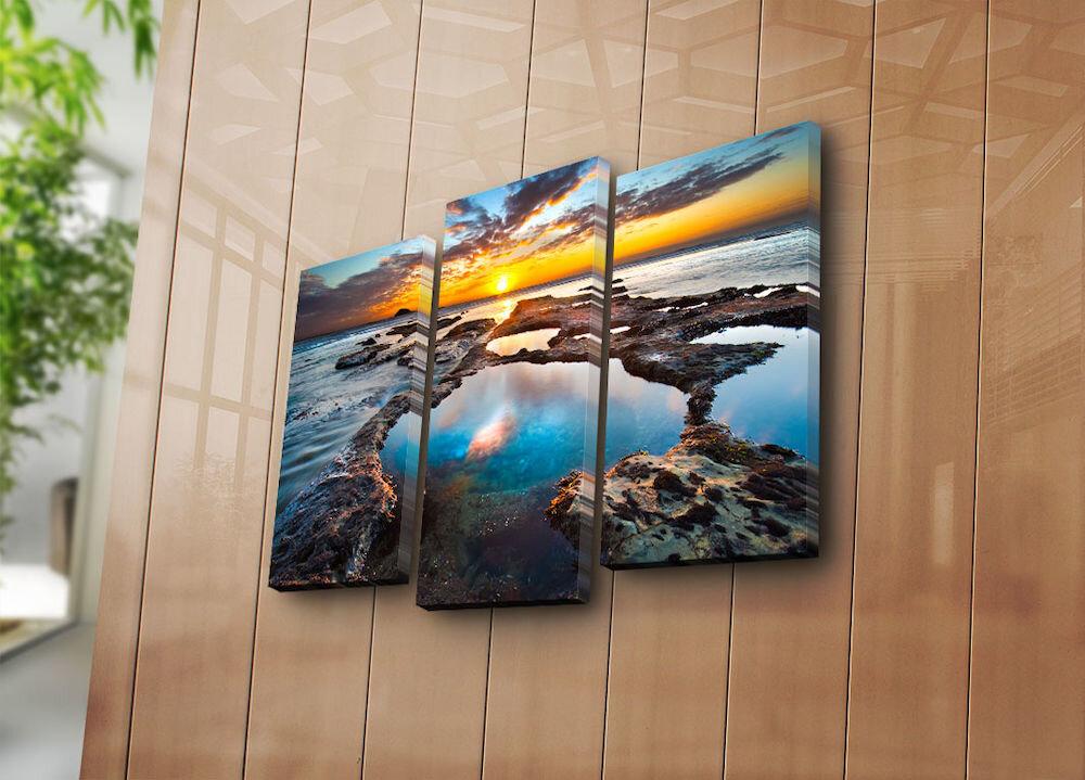 Tablou decorativ pe panza Bonanza, 242BNZ3270, 3 Piese, panza