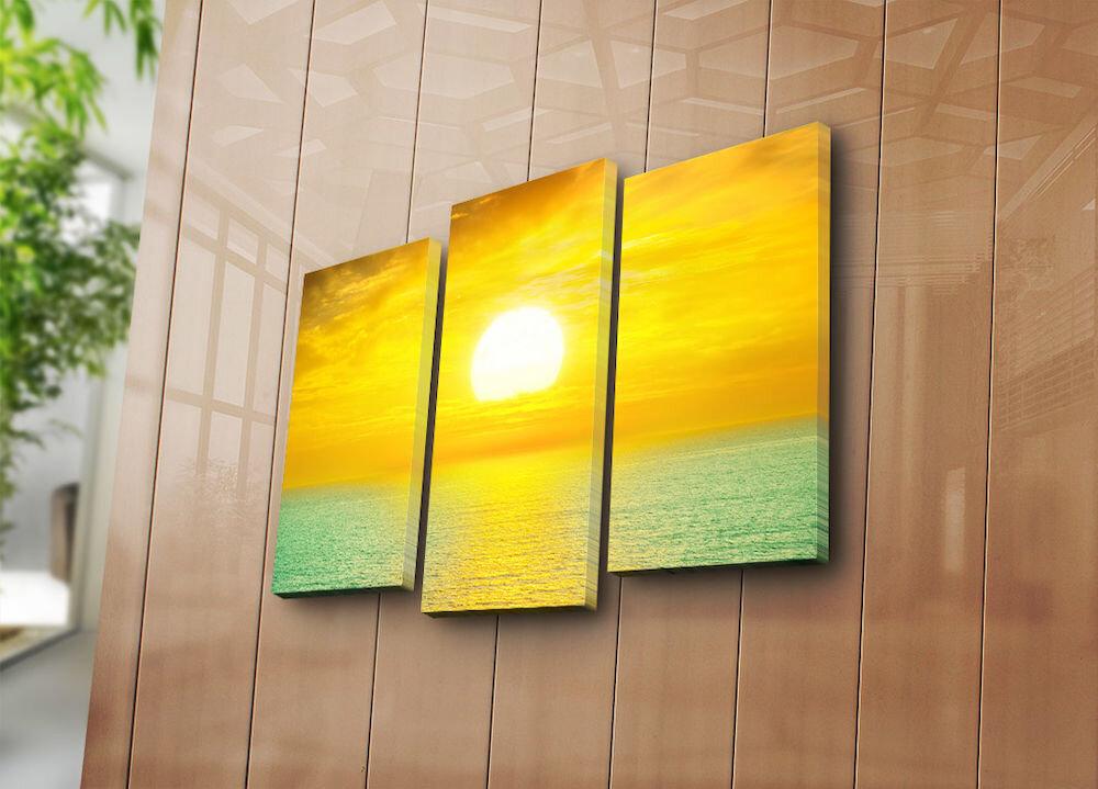 Tablou decorativ pe panza Horizon, 237HRZ4233, 3 Piese, panza