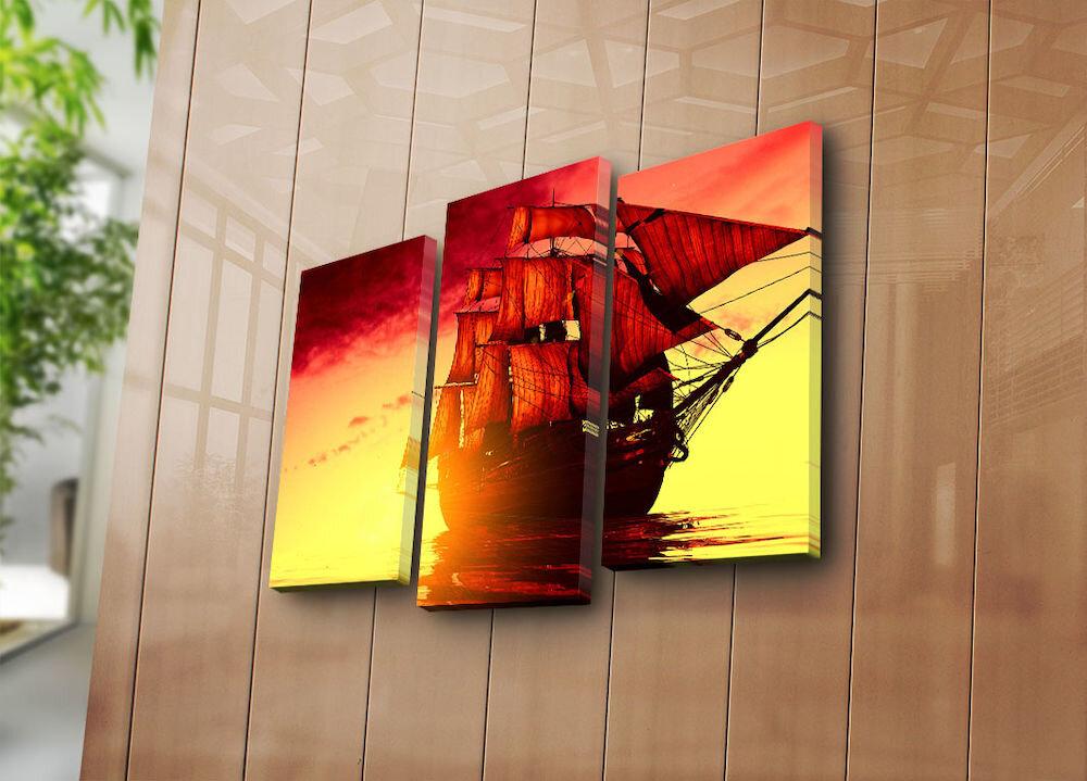 Tablou decorativ pe panza Horizon, 237HRZ4237, 3 Piese, panza