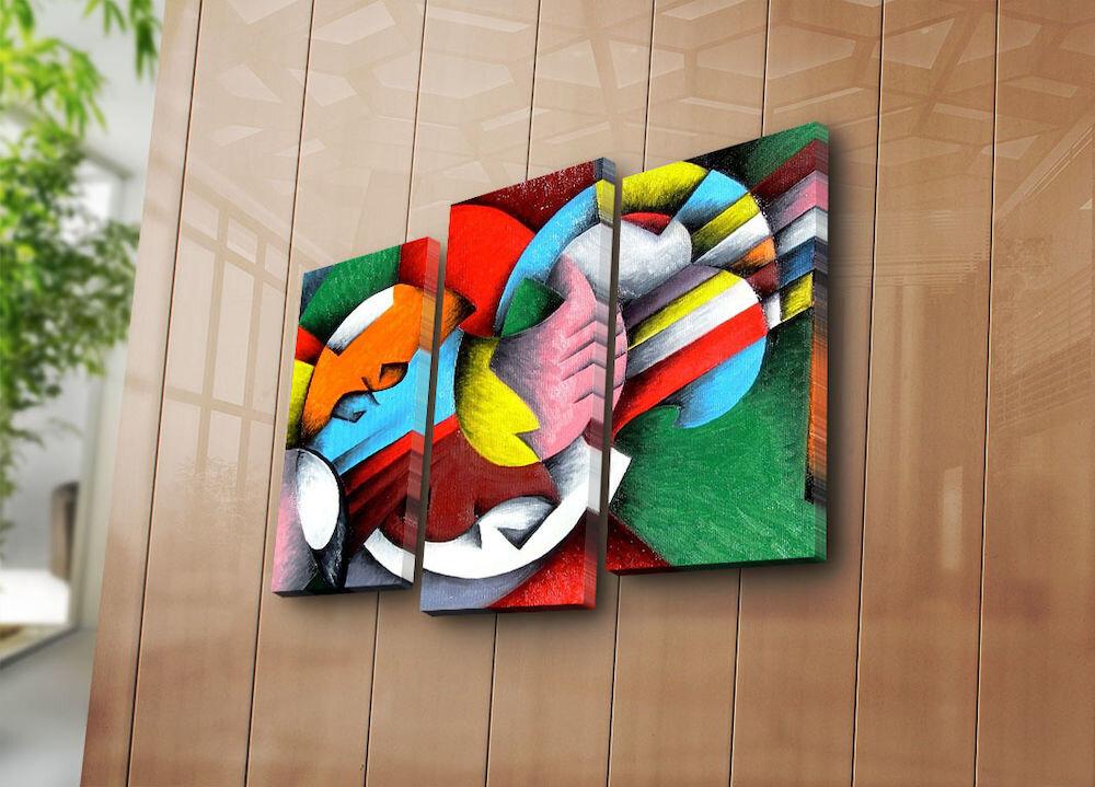 Tablou decorativ pe panza Horizon, 237HRZ4239, 3 Piese, panza
