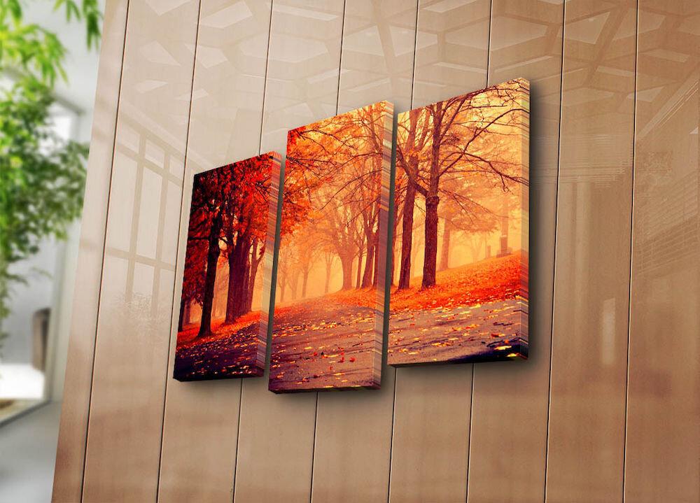 Tablou decorativ pe panza Sightly, 252SGH1257, 3 Piese, panza