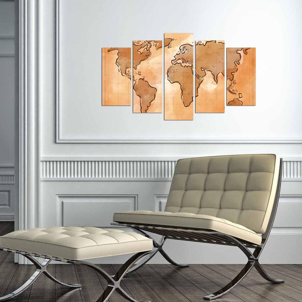 Tablou decorativ multicanvas Charm, 223CHR3949, 5 Piese, Harta Lumii, MDF