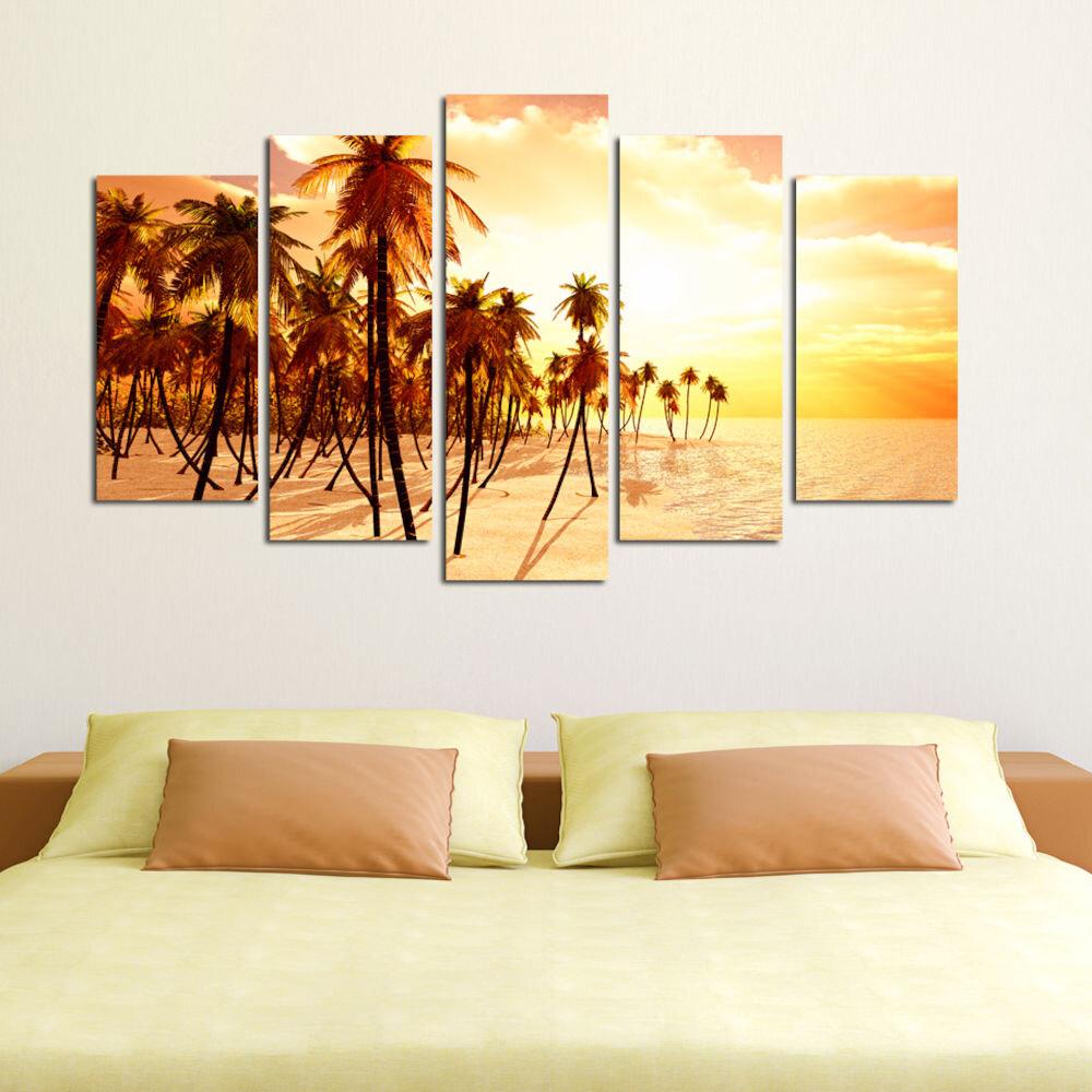 Tablou decorativ multicanvas Charm, 223CHR1910, 5 Piese, Plaja, MDF