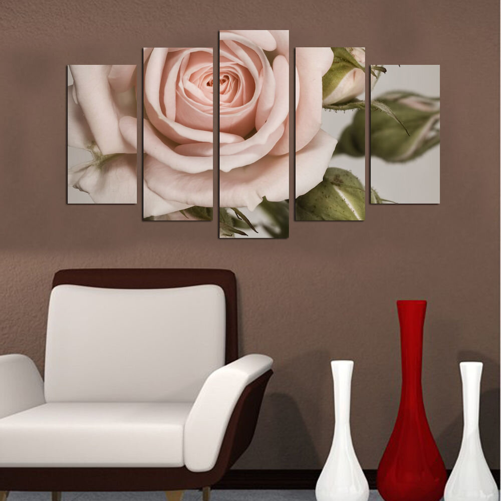 Tablou decorativ multicanvas Charm, 223CHR1969, 5 Piese, Flori, MDF