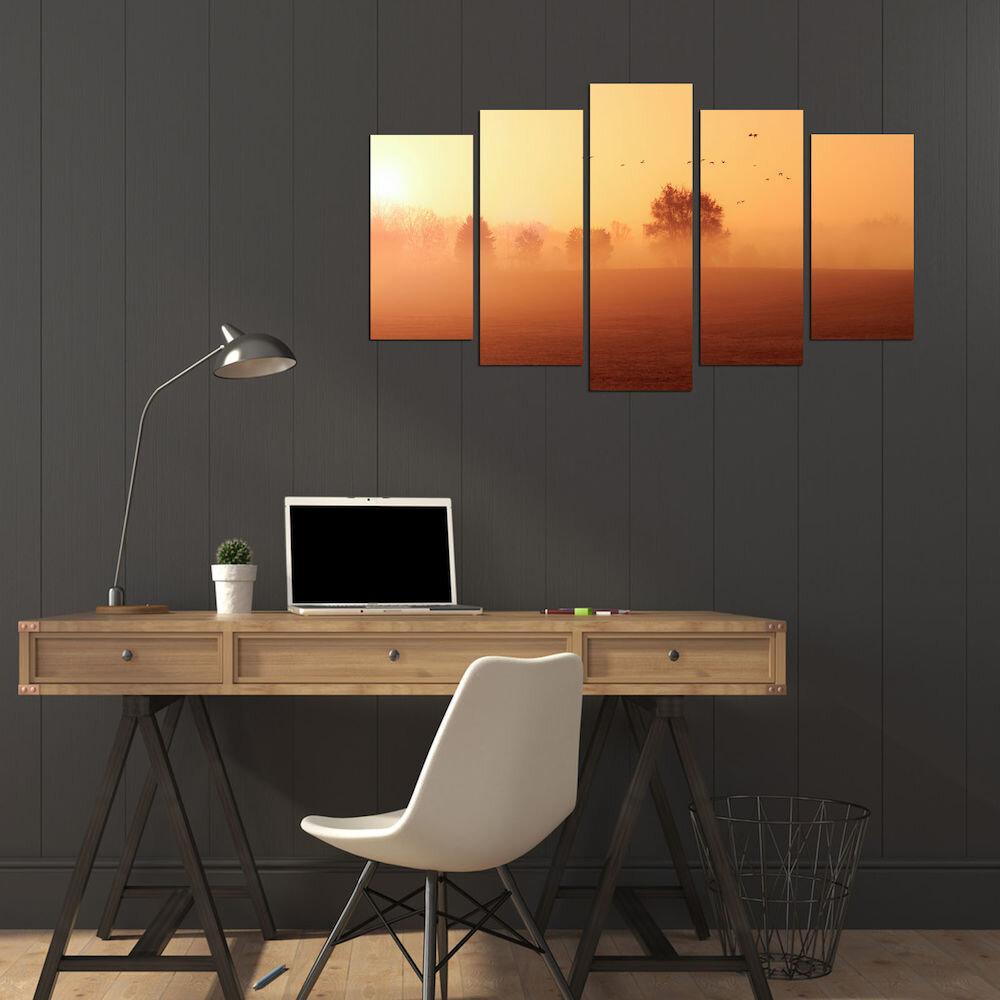 Tablou decorativ multicanvas Charm, 223CHR2995, 5 Piese, MDF