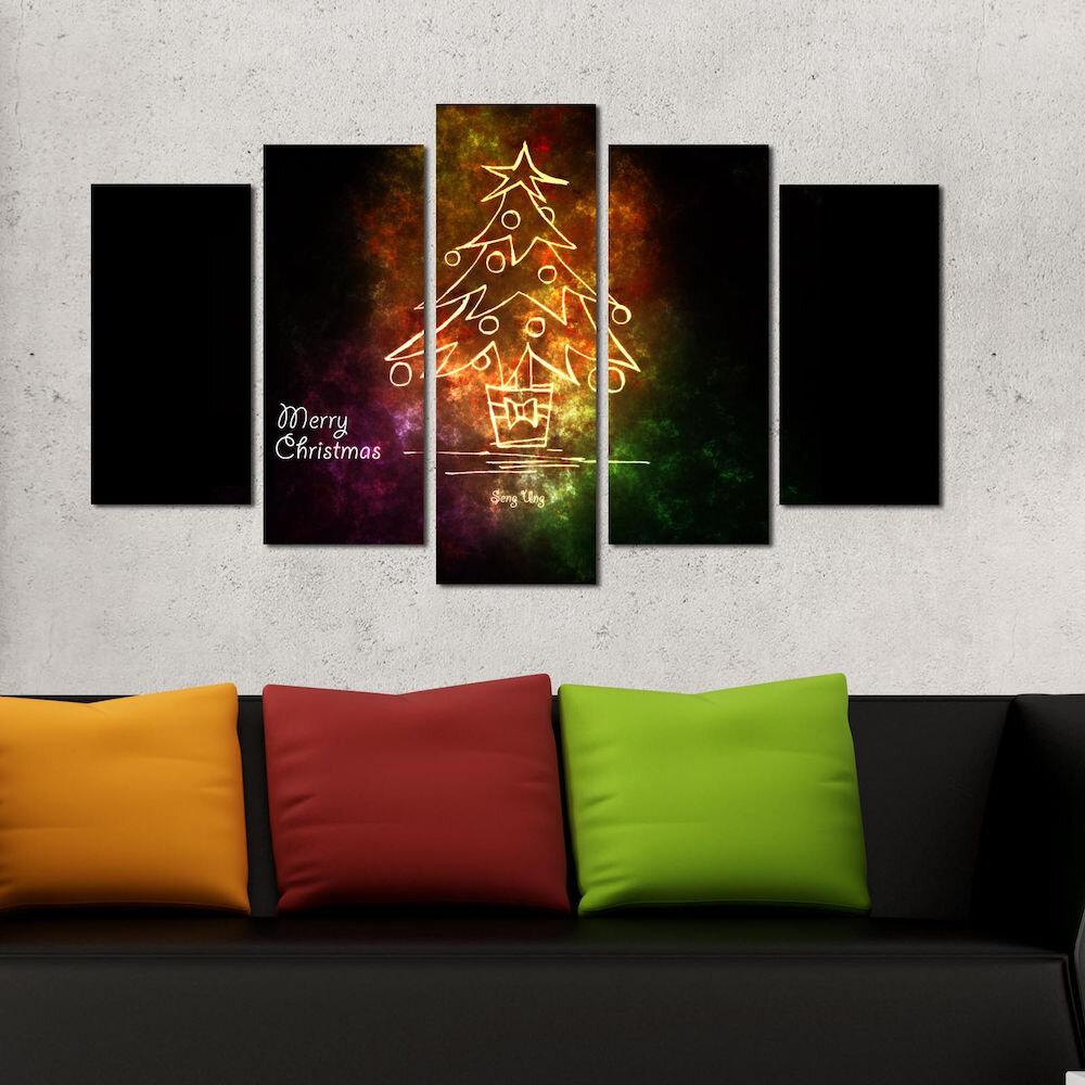 Tablou decorativ multicanvas Christmas Wall, 229CST1910, 5 Piese, MDF