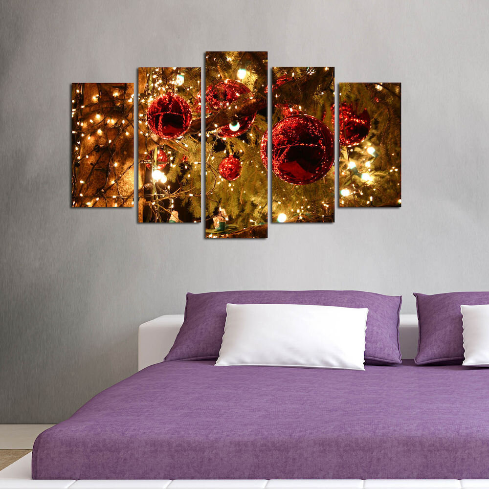 Tablou decorativ multicanvas Christmas Wall, 229CST1905, 5 Piese, MDF