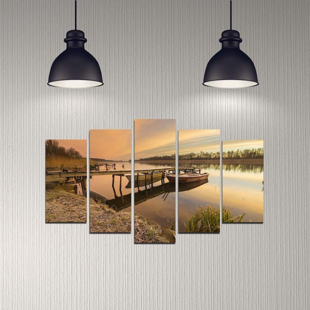 Tablou decorativ multicanvas Melody, 232MLD2913, 5 Piese, MDF