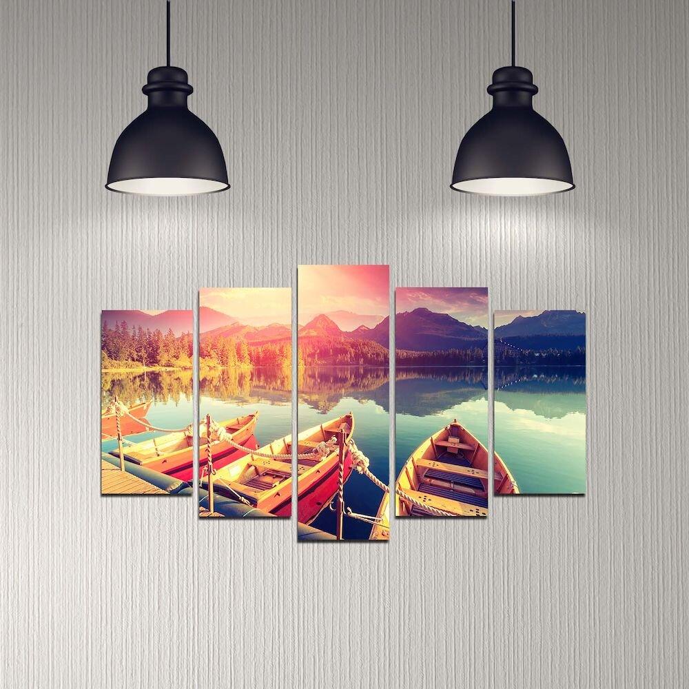 Tablou decorativ multicanvas Melody, 232MLD2917, 5 Piese, MDF
