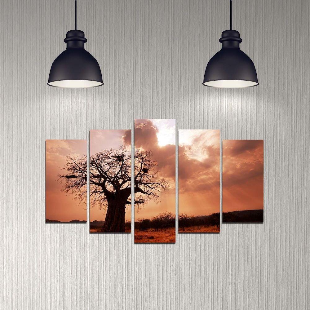 Tablou decorativ multicanvas Melody, 232MLD2925, 5 Piese, MDF