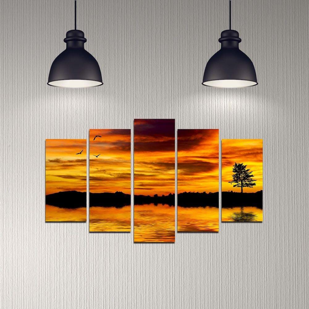 Tablou decorativ multicanvas Melody, 232MLD1989, 5 Piese, MDF