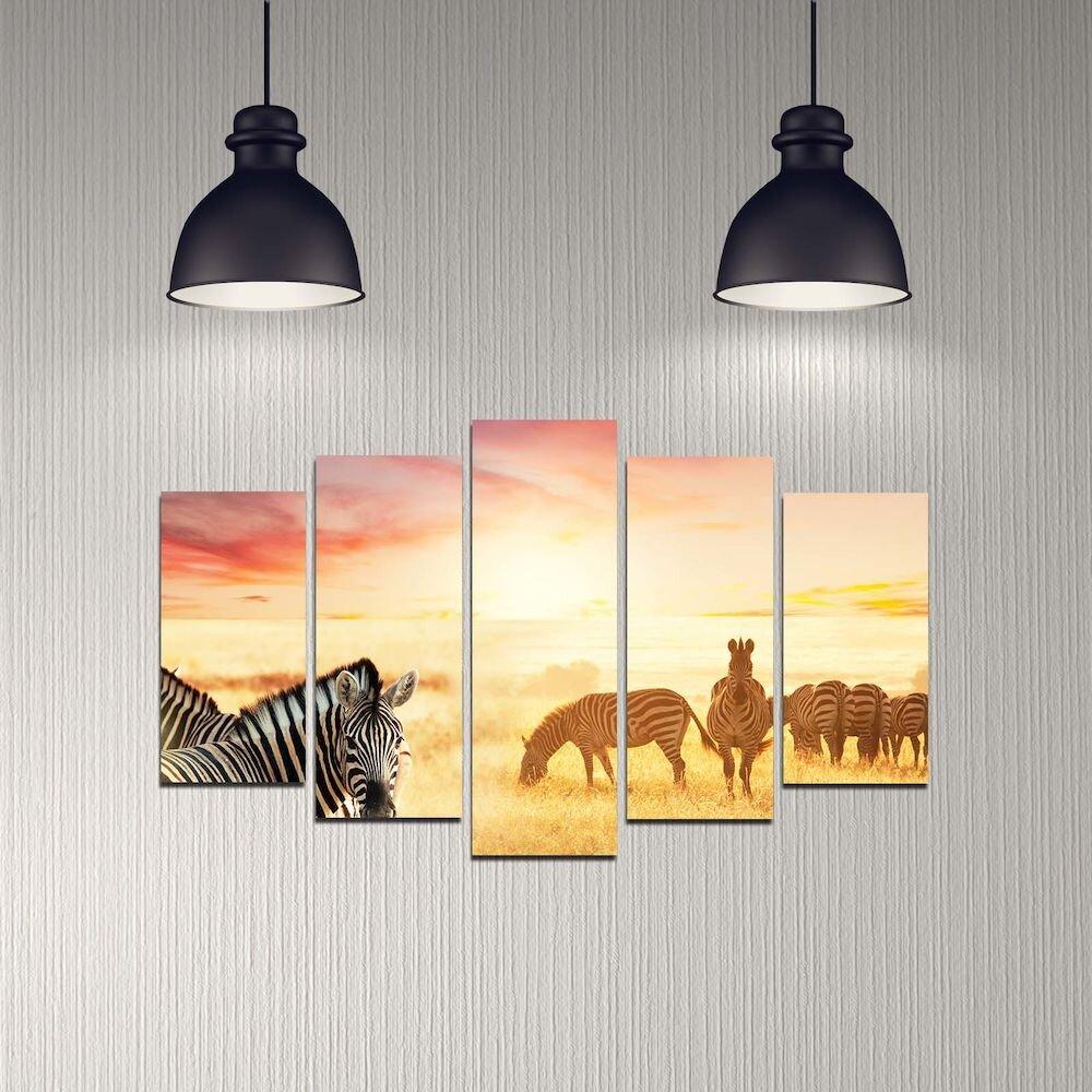 Tablou decorativ multicanvas Melody, 232MLD2926, 5 Piese, MDF