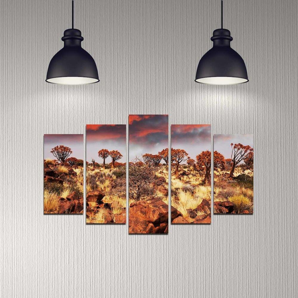 Tablou decorativ multicanvas Melody, 232MLD2927, 5 Piese, MDF