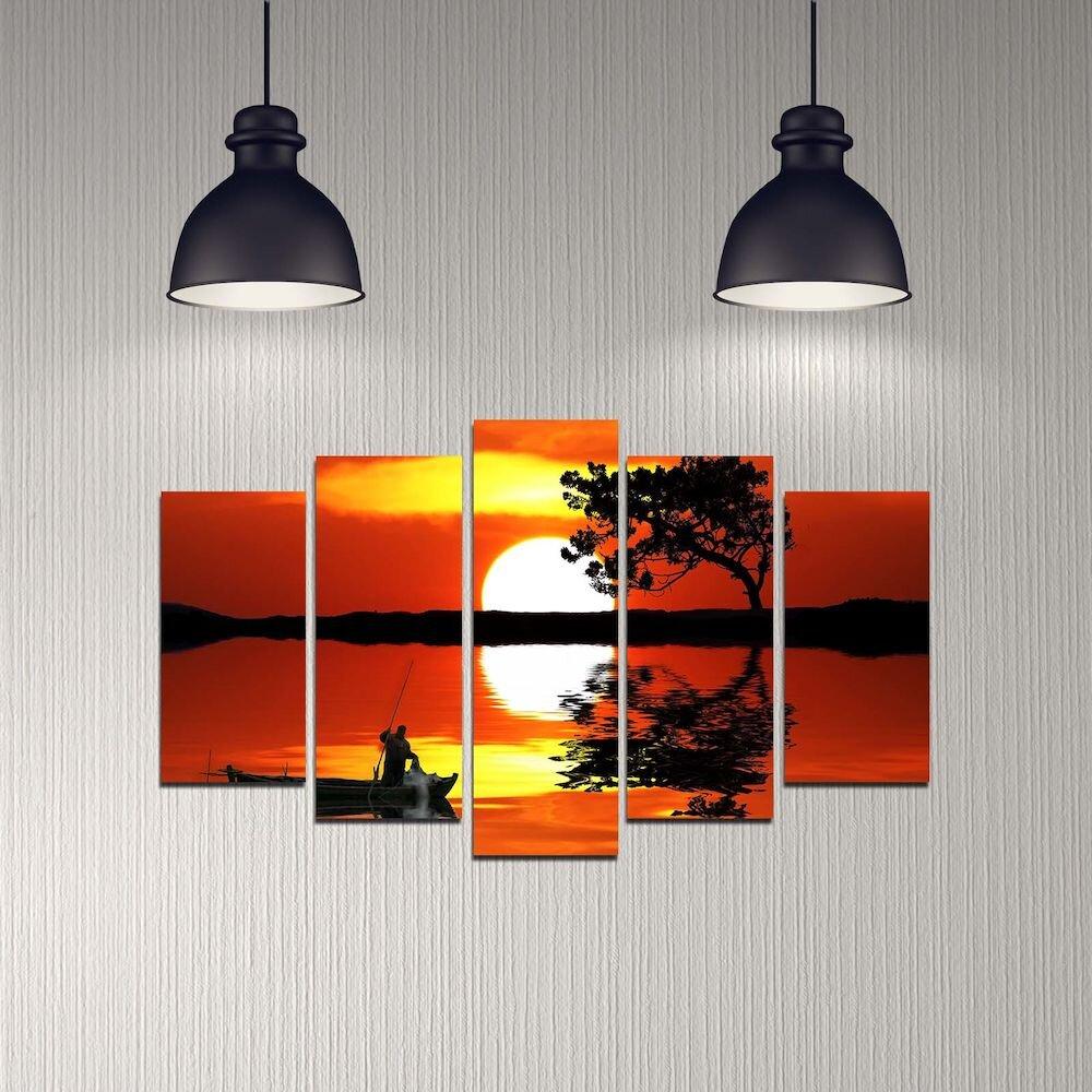 Tablou decorativ multicanvas Melody, 232MLD1990, 5 Piese, MDF