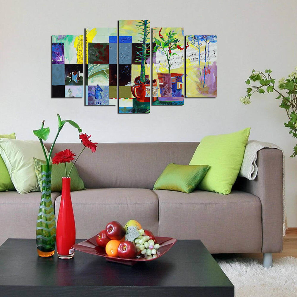 Tablou decorativ multicanvas Pure, 250PUR1985, 5 Piese, MDF