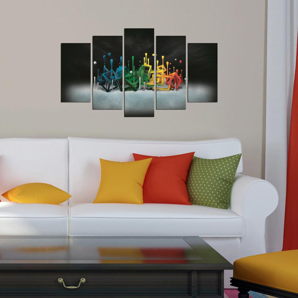 Tablou decorativ multicanvas Pure, 250PUR2975, 5 Piese, MDF
