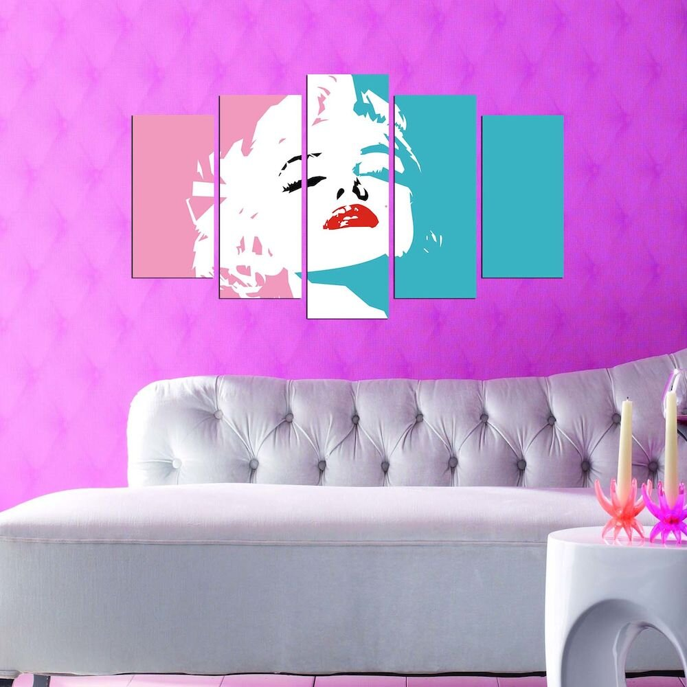 Tablou decorativ multicanvas Pure, 250PUR2993, 5 Piese, MDF
