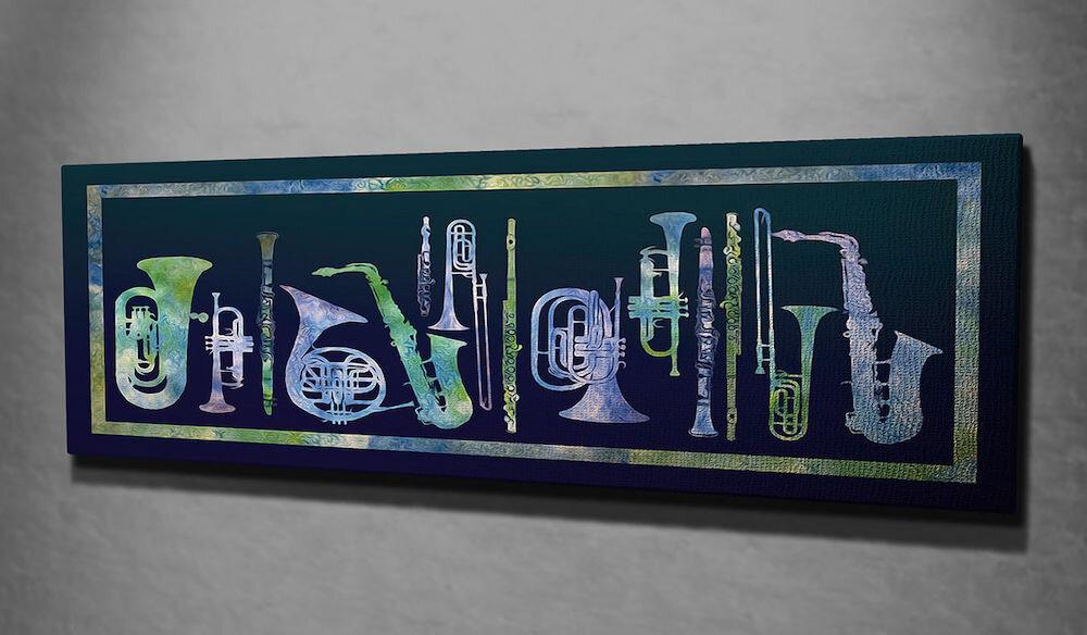 Tablou decorativ pe panza Symphony, 762SYM3225, 30 x 80 cm, panza