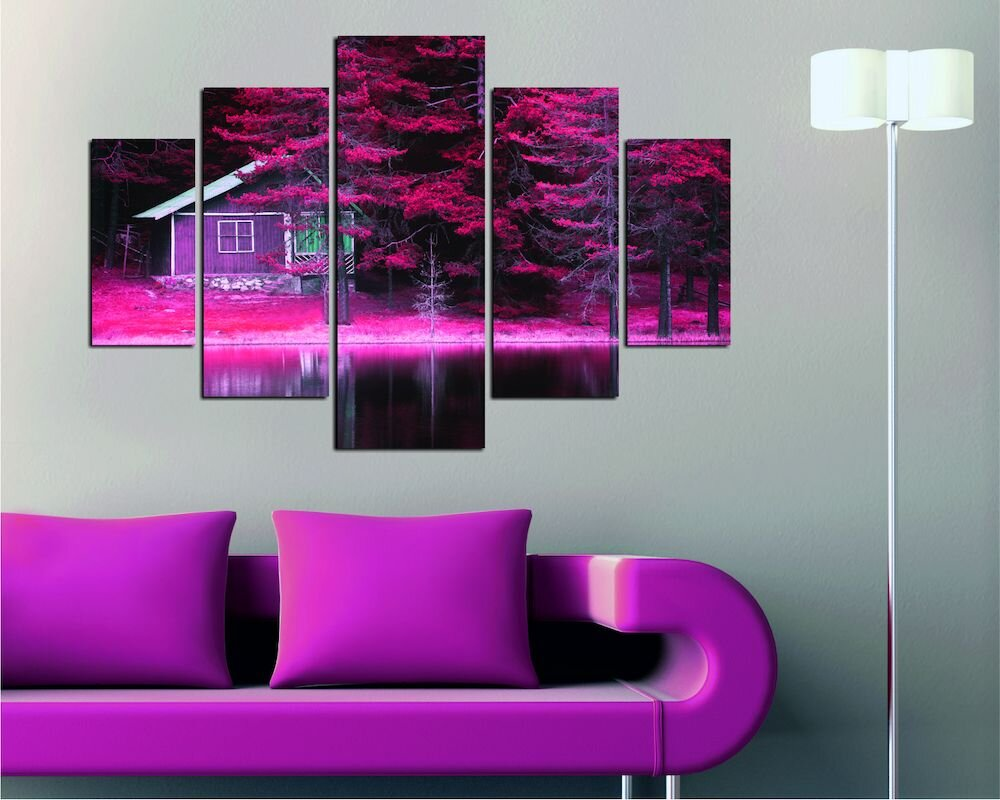 Tablou decorativ multicanvas Destiny, 247DST1941, 5 Piese, Peisaj, MDF