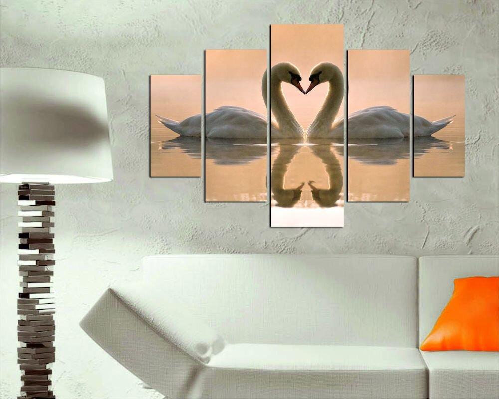 Tablou decorativ multicanvas Destiny, 247DST1977, 5 Piese, Lebede, MDF