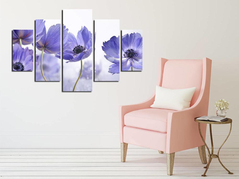 Tablou decorativ multicanvas Destiny, 247DST2932, 5 Piese, Flori, MDF