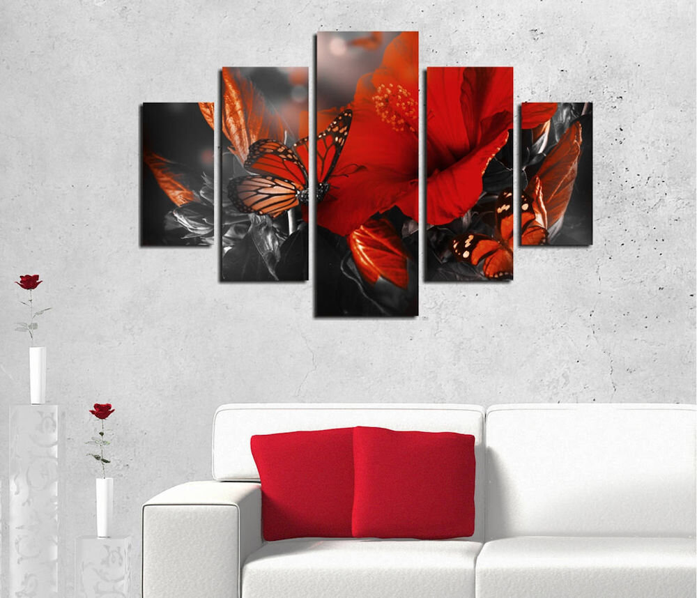 Tablou decorativ multicanvas Destiny, 247DST2934, 5 Piese, Maci, MDF