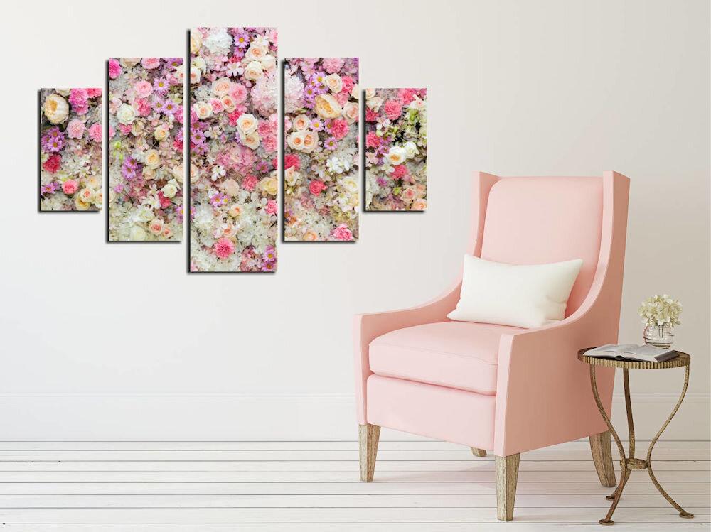 Tablou decorativ multicanvas Destiny, 247DST2935, 5 Piese, Flori, MDF
