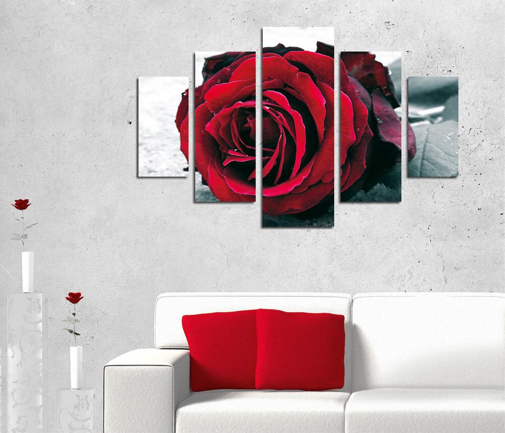 Tablou decorativ multicanvas Destiny, 247DST2943, 5 Piese, Trandafir, MDF