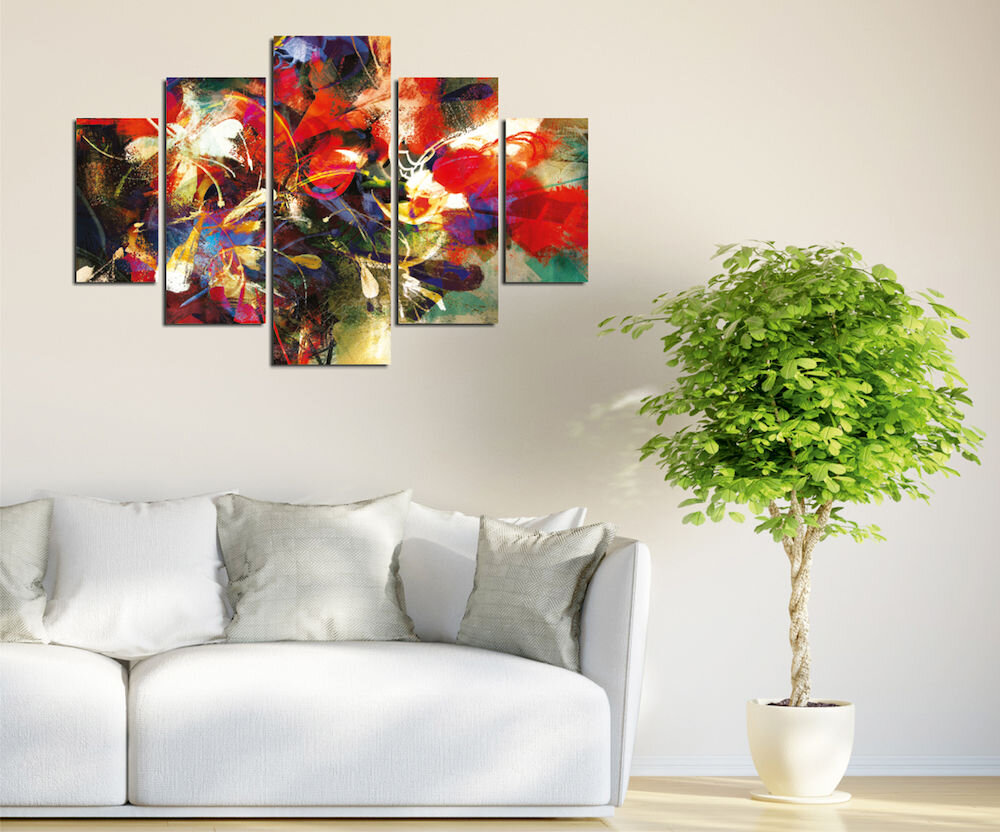 Tablou decorativ multicanvas Destiny, 247DST2959, 5 Piese, Abstract, MDF