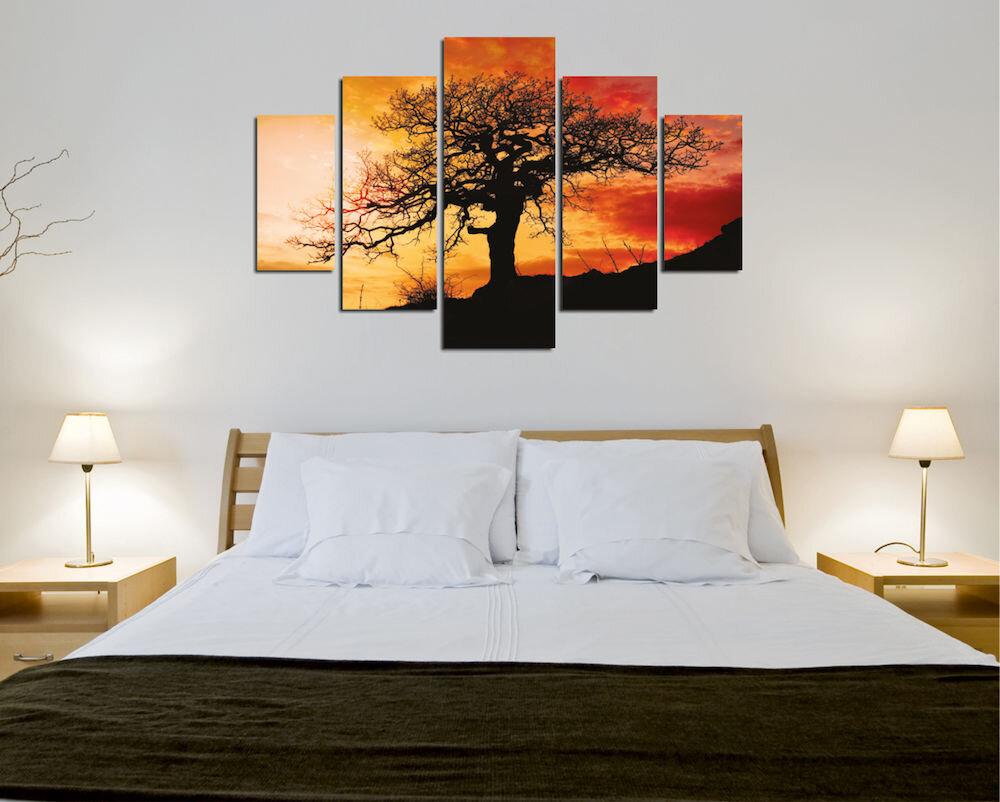 Tablou decorativ multicanvas Destiny, 247DST2960, 5 Piese, Arbore, MDF