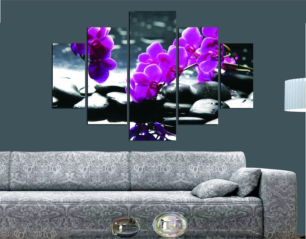 Tablou decorativ multicanvas Miracle, 236MIR1929, 5 Piese, Floral, MDF