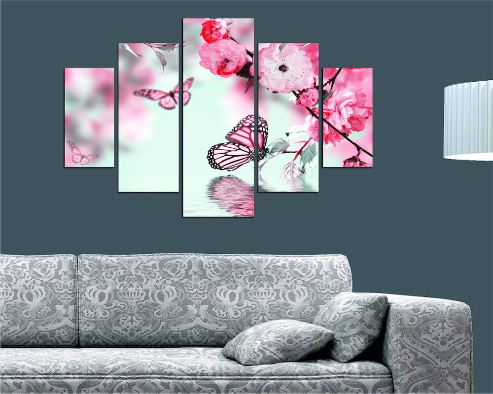 Tablou decorativ multicanvas Miracle, 236MIR2911, 5 Piese, Flori, MDF