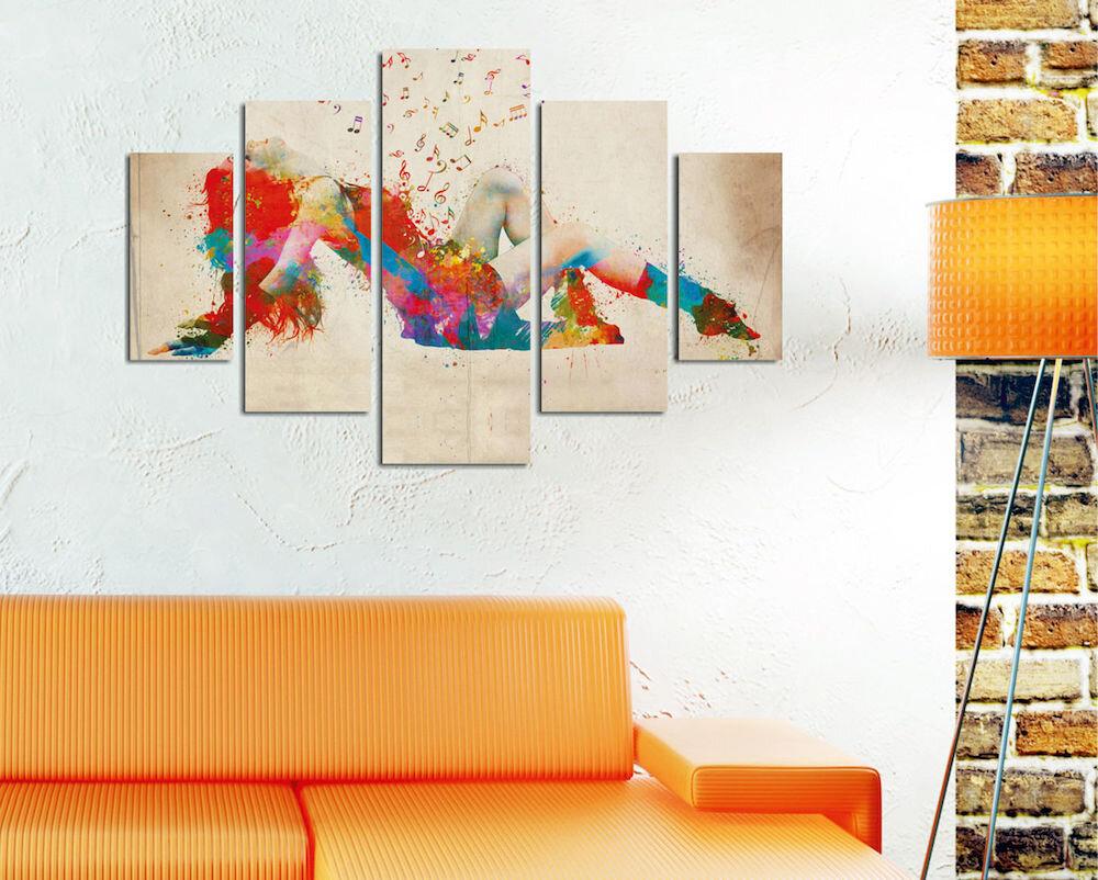 Tablou decorativ multicanvas Miracle, 236MIR2962, 5 Piese, Muzica, MDF