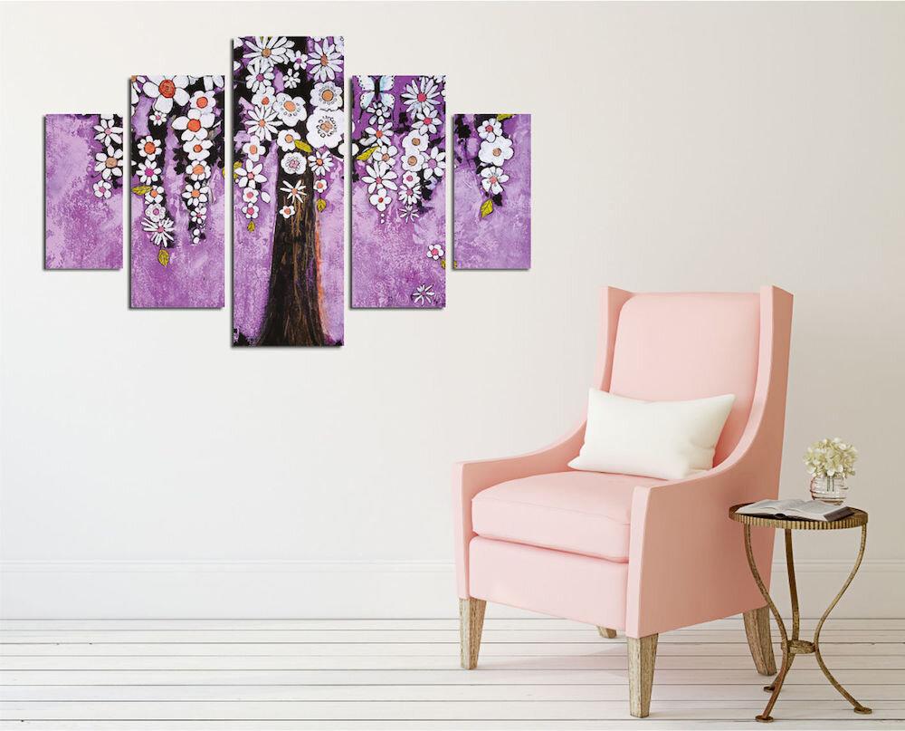 Tablou decorativ multicanvas Miracle, 236MIR2969, 5 Piese, Flori, MDF