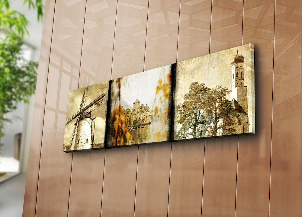Tablou decorativ pe panza Horizon, 237HRZ1265, 30 x 90 cm, panza