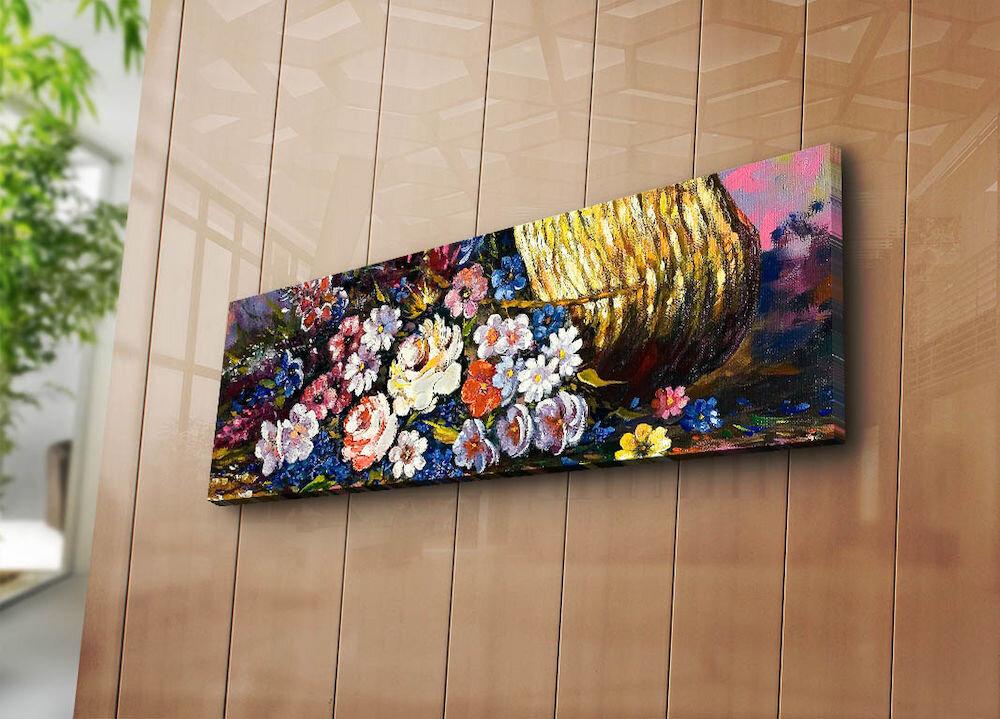 Tablou decorativ pe panza Horizon, 237HRZ1276, 30 x 90 cm, panza