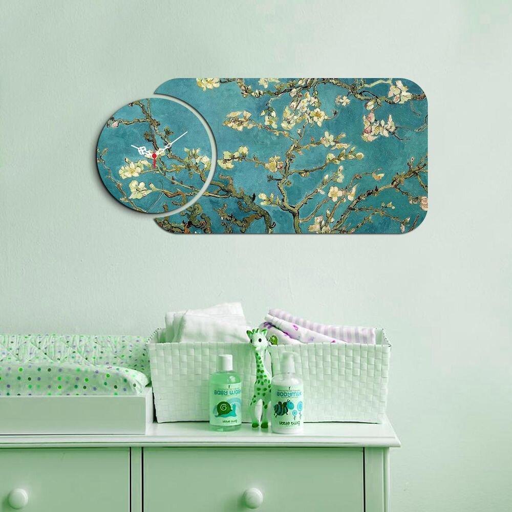 Ceas decorativ de perete din lemn Home Art, 238HMA5100, 2 Piese, MDF