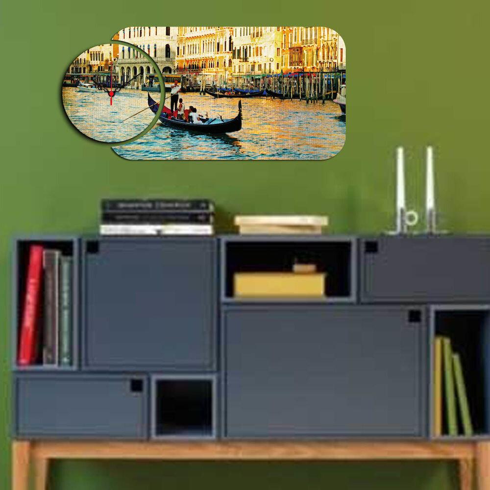 Ceas decorativ de perete din lemn Home Art, 238HMA5108, 2 Piese, MDF